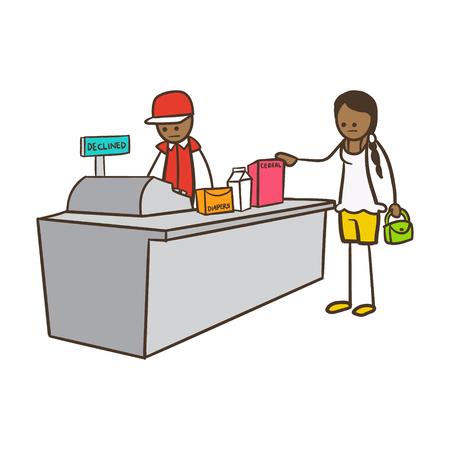 Dibujos animados Stick Figure Woman pagando en el cajero Vectores