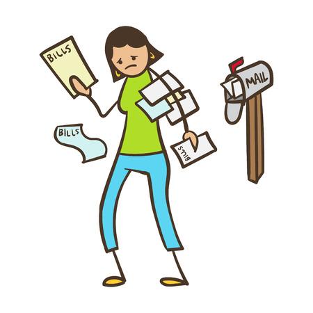 Cartoon Stick Figure Woman With Bills in the Mail Stock Illustratie