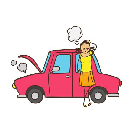 Cartoon Stick Figure Woman With Broken Down Car