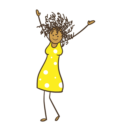 Cartoon Stick Figure Woman With Curly Hair