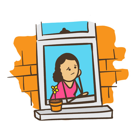 american stories: Cartoon Stick Figure Woman Worrying or Daydreaming Illustration