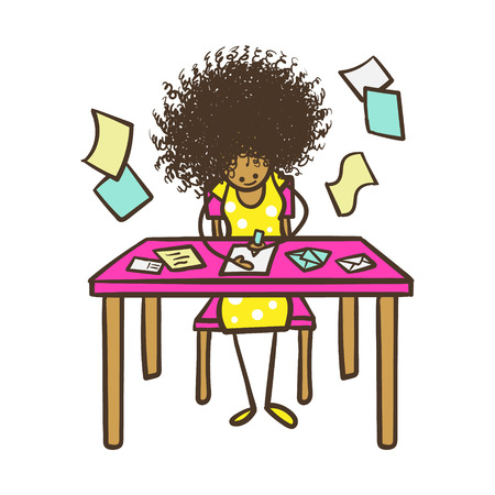 american stories: Cartoon Stick Figure Woman Writing Mail Illustration