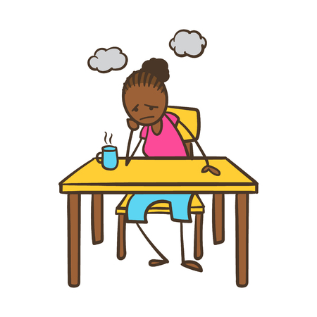 Depressed Cartoon Stick Figure Woman