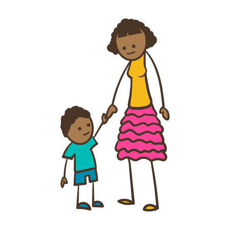 american stories: Cartoon Stick Figure Woman With Her Child Illustration