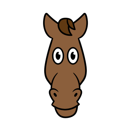 Cartoon Horse Head Illustration.