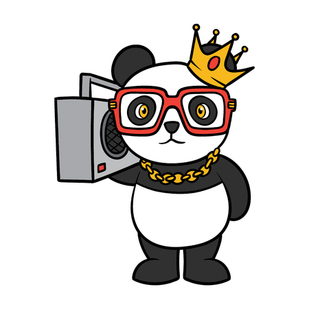 Cartoon Hip Hop panda illustration.