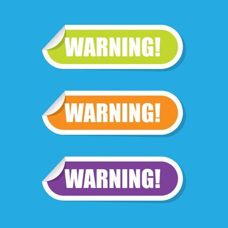 Warning Folded Paper Labels Imagens - 72939834