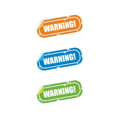 Warning Sticker Labels. Ilustração