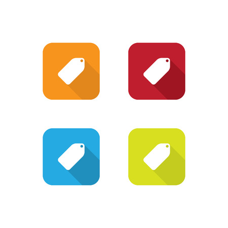 Colorful Flat Tag Label Icons With Long Shadow