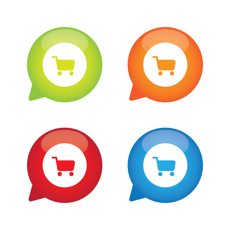 Colorful Glossy Shopping Cart Speech Bubble Labels
