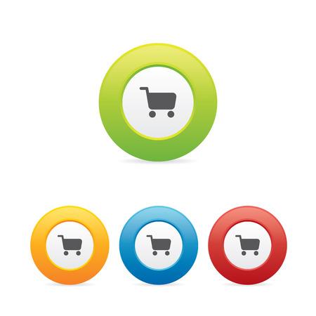 Colorful Shopping Cart Icons Ilustração