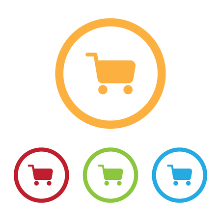 Colorful Shopping Cart Icons With Rings