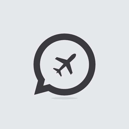 Airplane or Airport Speech Bubble Icon Imagens - 72989031