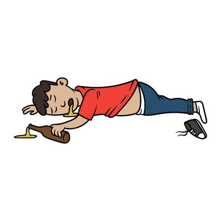 Caricature Passed Out Drunk Man illustration vectorielle Vecteurs