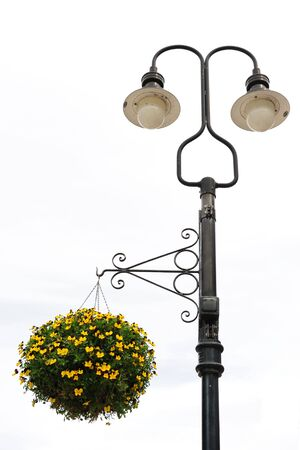 Street Lamp with Flower Basket Stock Photo