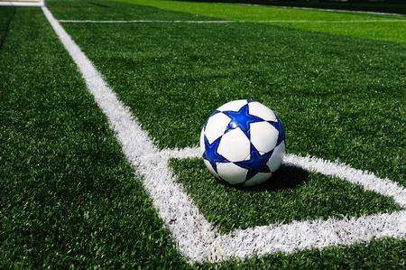 サッカー フィールドの角 写真素材