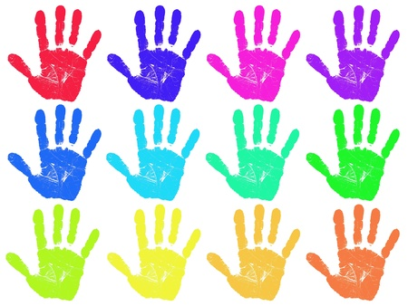 Hand print in many colors