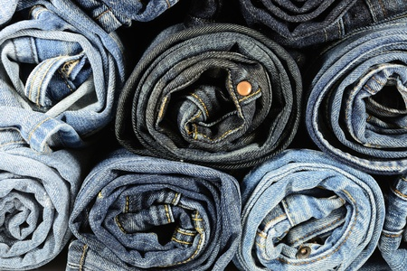 cotton  jeans: Stack of Blue Jeans Stock Photo