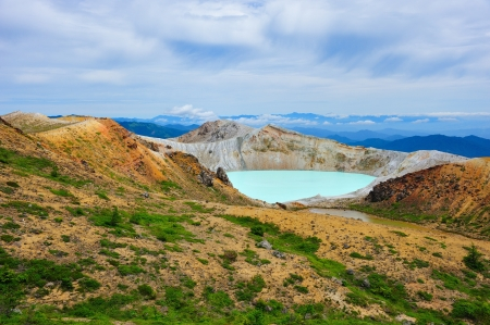 Crater Lake at Mt  Shirane, Japan photo