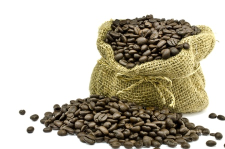 gunny: Coffee bean in Gunny bag with white isolate background