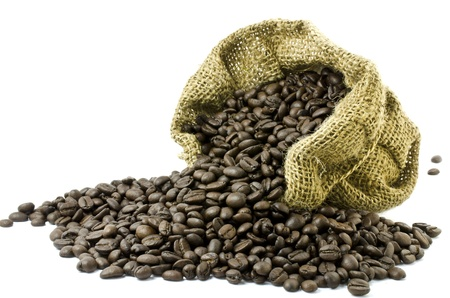 gunny bag: Coffee bean in Gunny bag with white isolate background  Stock Photo