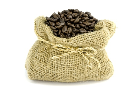 gunny: Coffee bean in Gunny bag with white isolate background  Stock Photo