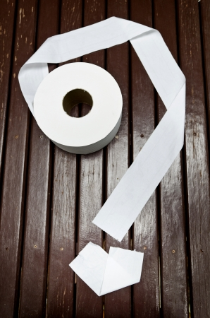 Paper towel Toilet roll with question shape on the table photo