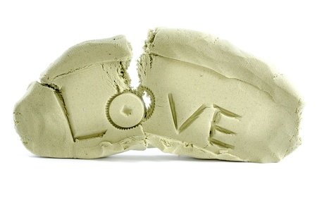 Broken love with white isolate background  photo