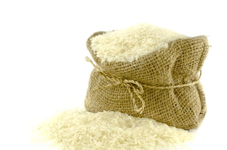 gunny bag: Rice in Gunny bag with white isolate background