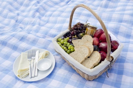 picknick: Pic-nic basket with fruit and dish on blue seamless plaid pattern