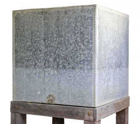 Water tank  Old  made of galvanized iron plate, used about 1900 - 1990 isolate white background Stock Photo - 20242735