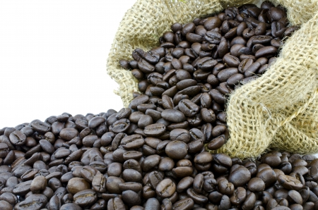 gunny bag: Coffee bean in Gunny bag with white isolate background