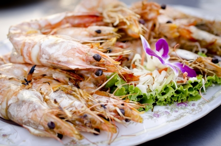 Fresh grilled shrimps on white plate photo