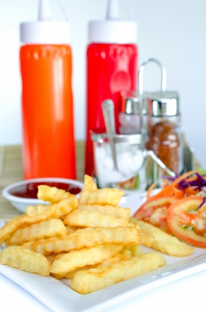 French Fries on plate and Ketchup