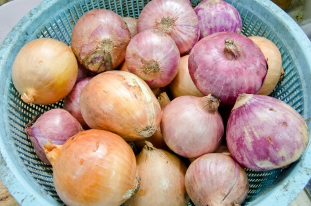 close up of onions in a basket: Low price Yellow and Red onions in blue basket   Close up    Stock Photo
