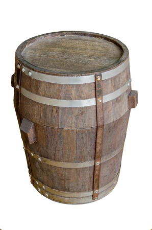 wood barrel with steel ring on white background    photo