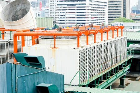 vents: Exhaust vents of industrial air conditioning and ventilation units