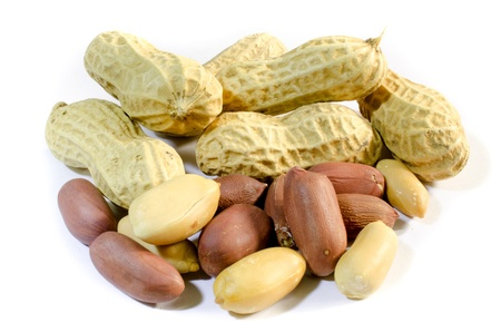 Dry Purple Ground nut on white isolate background . ( Thai peanut )