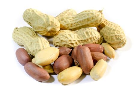 Dry Purple Ground nut on white isolate background . ( Thai peanut )