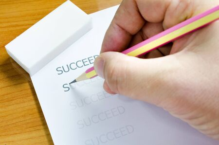 succeed: Business concept succeed word    Stock Photo