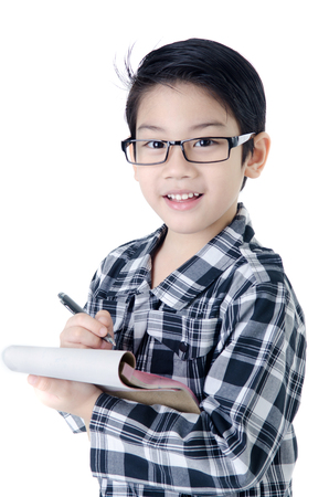 Cute little account boy with eye glasses isolate on white background .