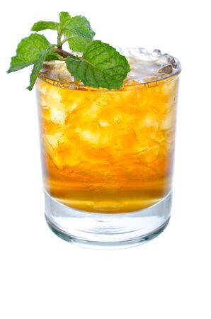 Fresh and cold ice tea with mint isolated on white