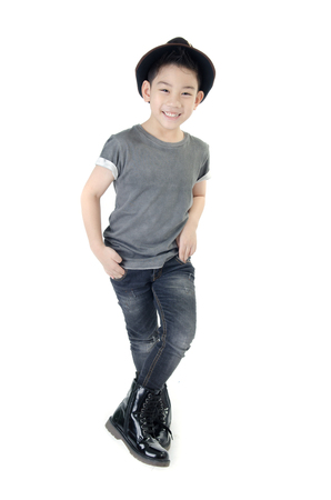 little smile boy with hat isolate on white .