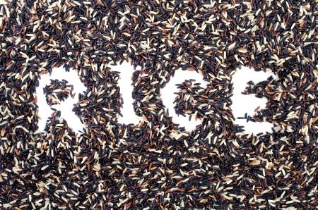 Blace rice and Broen rice background with rice word Stock Photo - 23564096