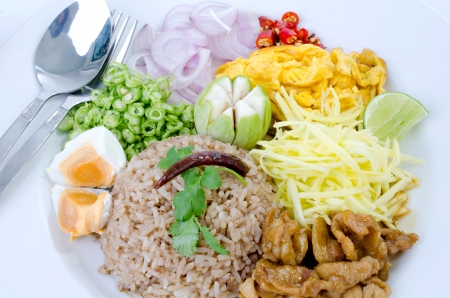 fry rice with the shrimp paste, Thai food . Stock Photo - 23847043
