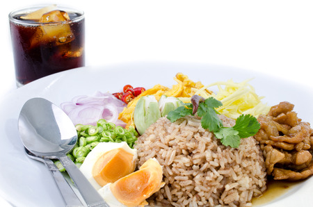 fry rice and the shrimp paste with Cola soft drink , Thai food Stock Photo - 23847046