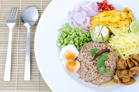 fry rice with the shrimp paste, Thai food . Stock Photo - 23847047