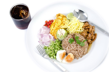 fry rice and the shrimp paste with Cola soft drink , Thai food Stock Photo - 23847055