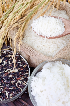 black rice: Raw rice, Selection Of black rice white rice and white steamed rice with wood spoon .  Stock Photo
