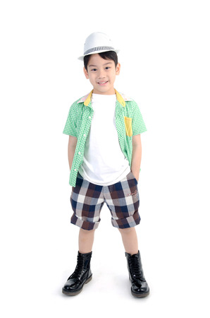 Portrait of smile asian cute boy isolate on white background .  Stock Photo